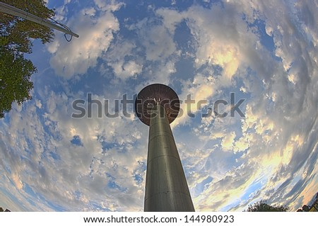 Water tower in a fish-eye HDR view