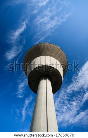water tower with blue sky
