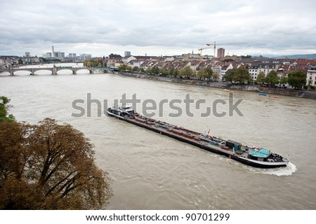 Water transport on Rhine river in Basel, Switzerland - stock photo