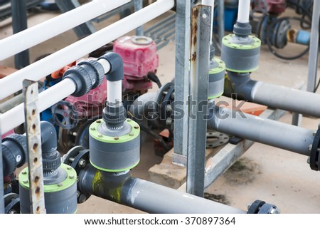 water treatment facility, piping system - stock photo