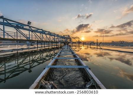 Water Treatment Plant at Sun Rise - stock photo