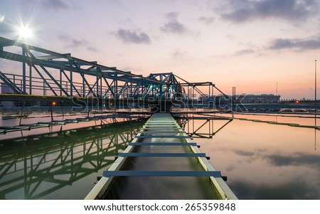 Water Treatment Plant early in the morning - stock photo