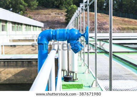 water treatment plant. fire hydrant  valve. - stock photo