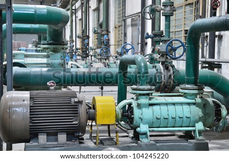 water treatment plant - water treatment plant within the pumps and pipelines - stock photo