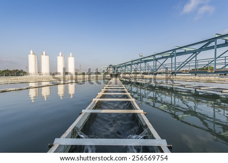 Water Treatment Plant with blue sky - stock photo
