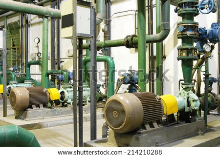 Water treatment plant within the pumps and pipelines  - stock photo