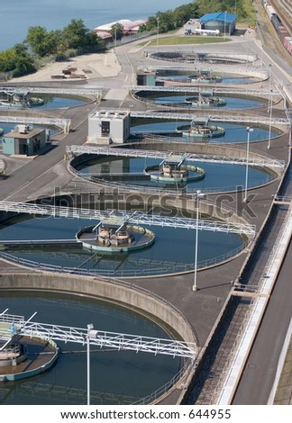Water treatment pools - stock photo