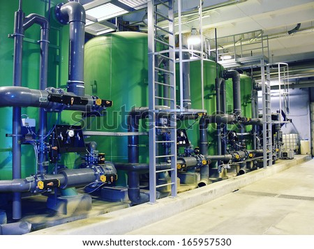 water treatment tanks at power plant  - stock photo