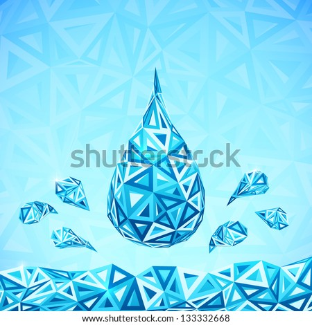 Water triangular drops ecology abstract concept - stock photo