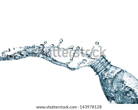 Water up from a bottle - stock photo