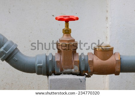 Water valve set in the building, Control water flow by valve - stock photo