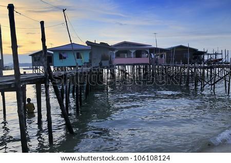 Water village, Mabul, Borneo - Malaysia - stock photo