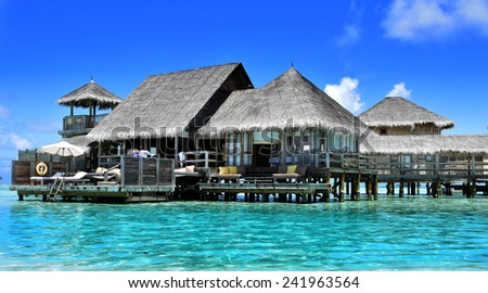 Water Villas at Gili Lankanfushi in the Maldives  - stock photo