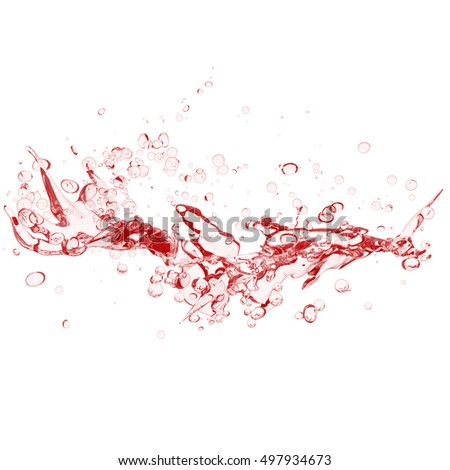 Water, water bubbles.red water ripples isolated on white background. red water bubbles isolated on white background. 3d