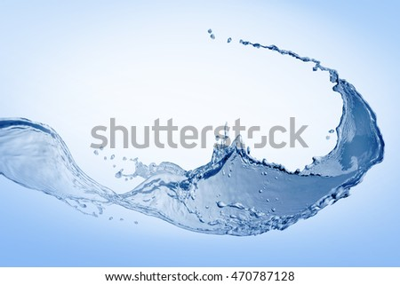 Water,water splash isolated on blue background
