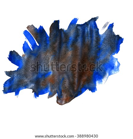 water  watercolor texture blue black splash blotch watercolour isolated on white background