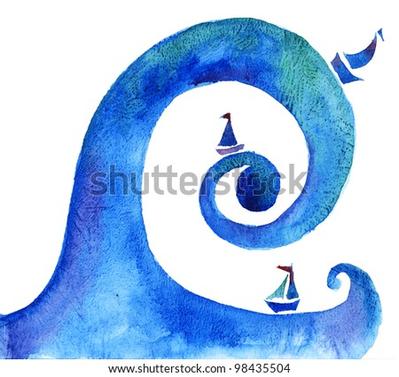 water wave handmade abstract illustration