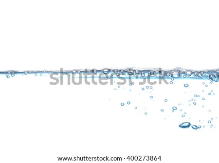 Water wave with air bubbles isolated on white background - stock photo