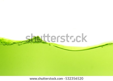 Water wave with bubble of air, on white background. Green water
