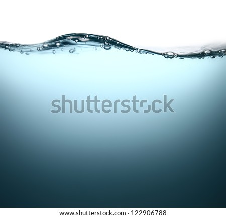 Water wave with bubbles. - stock photo