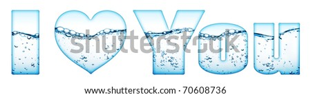 "water wave with bubbles ""i love you"" isolated on white"
