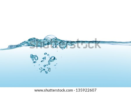 Water waves isolated on white background