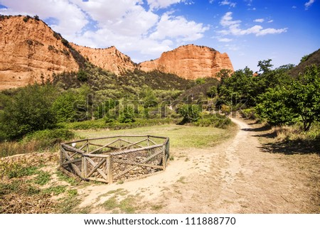 Water well in Las Medulas, ancient Roman mines, UNESCO, Leon, Spain - stock photo