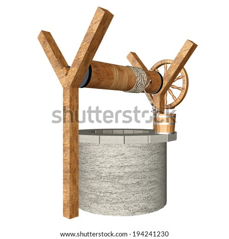 Water Well realistic. isolated white background. 3d - stock photo