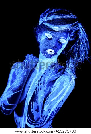 Water woman. Body art glowing in ultraviolet light, four elements, isolated on black background - stock photo