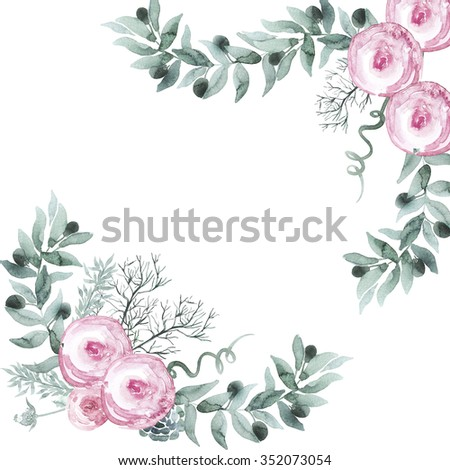 Watercolor a bouquet of roses and olive branches in gentle tones