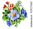 Watercolor a bouquet with hand bells on a white background - stock photo