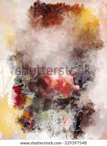 Watercolor abstract background with flower pattern