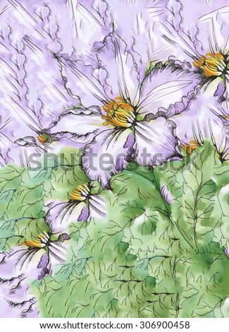 Watercolor abstract floral background with colorful beautiful flowers - stock photo