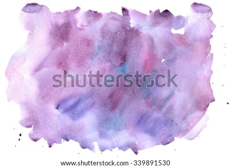 Watercolor abstract purple splash background; paintbrush hand made technique