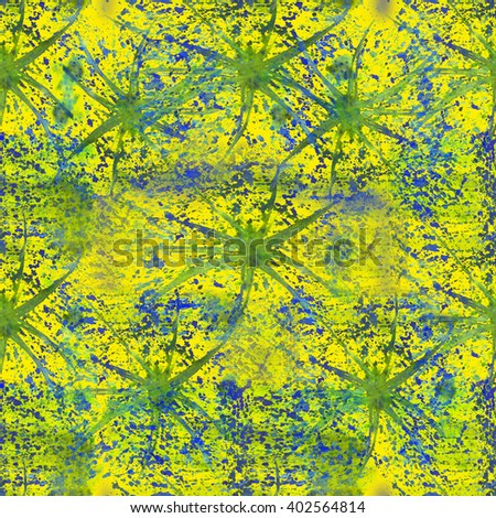 Watercolor abstract seamless pattern with hand painted splash dirty spot on green background