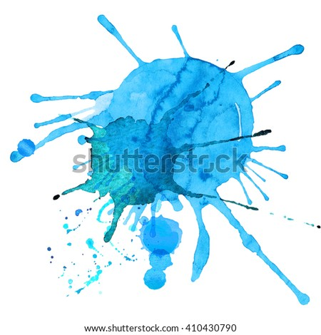 Watercolor abstract splash splatter. Hand drawn paint texture. Blue paint blob - stock photo