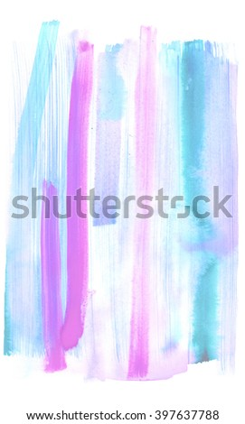 Watercolor abstract strip background. Hand drawn paint texture. Pink magenta and blue and splash splatter - stock photo