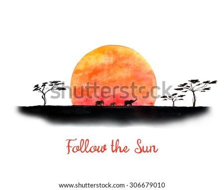 Watercolor african scene with sunset, trees and elephant family silhouette - stock photo
