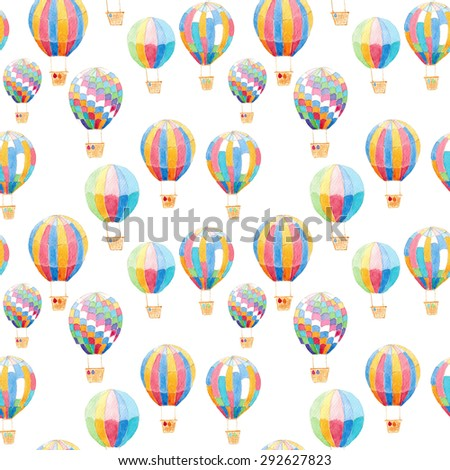 Watercolor Air Balloons seamless Pattern background