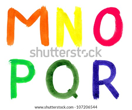 Watercolor alphabet isolated on a white background - stock photo