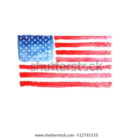 Watercolor American Flag Symbol Usa Painted Stock Illustration