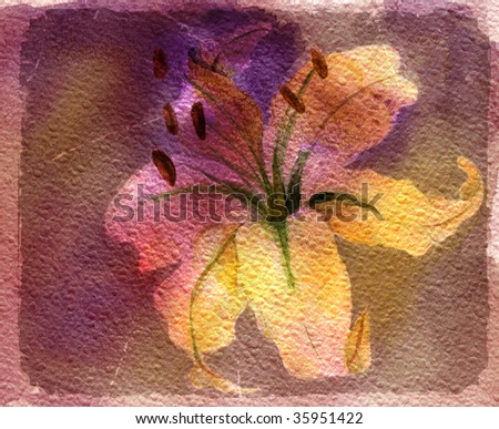 Watercolor ancient card with lily on violet background - stock photo