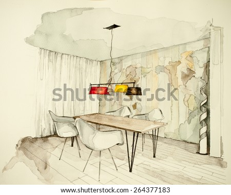Watercolor And Ink Freehand Sketch Drawing Of Apartment Flat Dining Room Symbolizing Artistic Custom Unique