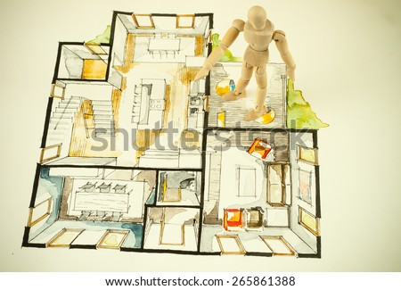 Watercolor and ink freehand sketch drawing of house floor plan as aquarell painting, with a wooden human scale model figure, symbolizing artistic custom unique approach in buying real estate property - stock photo