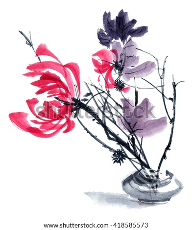 Watercolor and ink illustration in style gohua, sumi-e, u-sin of chrysanthemum bouquet in vase. Oriental traditional painting
