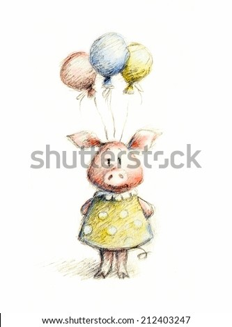 watercolor and pencil drawing of pig with balloons