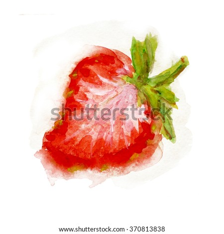 Watercolor and strawberry leaf. Food, logo, template. The elements of the pattern, background, design menus, postcards, brochures. Isolated fruit. Vegetarian healthy food. Sweet dessert with berries.