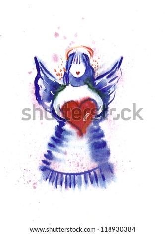 Watercolor -Angel- - stock photo