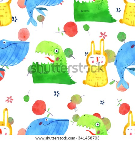 watercolor animal, cartoon illustration, rabbit, dino, whale, apple, hand drawn isolated on white background, seamless pattern