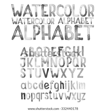 Watercolor aquarelle font type handwritten hand draw doodle abc alphabet letters black and white. - stock photo